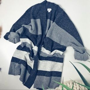 Grey Oversized Striped Sweater